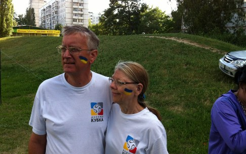 Ron & Nancy Minton at outreach event in Ukraine